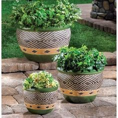 Jade Planters Trio - Lush shades of sand and jade add natural elegance to  your favorite plants, showing them off to stunning effect! Coordinating  pots in ... 2514bed07f3