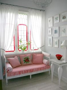 adorable white with red - love the settee by linfirefly