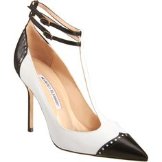 Manolo Blahnik's leather point cap spectator toe pump with double buckle T-strap Mallinspec pump