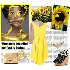yellow dress, black cork wedges, created by lip-gloss-lover on Polyvore