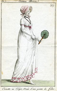 Costume Parisien 97    Undated, but I would guess 1790s or 1800s based on others - pre-1810.