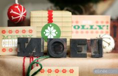 Rustic wood type holiday printables DIY kit