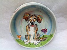 Mixed Breed 10 Ceramic Dog Bowl for Food or Water Personalized at no Charge Signed by Artist Debby Carman * You can find out more details at the link of the image.(This is an Amazon affiliate link)
