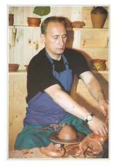 President Vladimir Putin trying his hand at pottery
