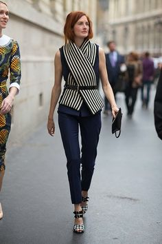 striped sleeveless top, streetstyle