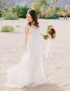 e0868a28f3 A Fall Wedding in Palm Springs (With Synchronized Swimmers!) Pretty Wedding  DressesClassic ...