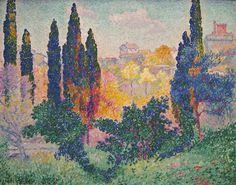 Henri Edmond Cross - Les cypres a Cagnes, 1908