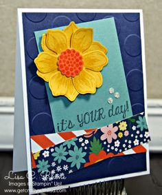 Get Crafty with Lisa:  It's Your Day!  This It's Your Day Card features Stampin' Up!'s Beautiful Bunch Stamp Set, Fun Flower Punch, and Flowerpot Designer Series Paper, by Lisa Rhine, www.getcraftywithlisa.com