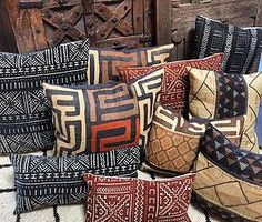 Kuba and mud cloth pillows Tierra Del Lagarto