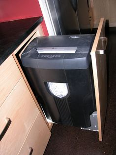 convert swing out door to pull-out drawer for paper shredder
