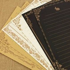 Set of 24 Retro Style Lace Design Writing Stationery Paper, 3 Styles