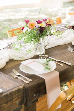 Rustic table against