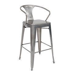 Indoor/Outdoor Steel Barstool in Clear Coat Finish