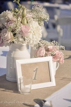 Rustic Outdoor Chic Wedding, Burlap Table Numbers :)