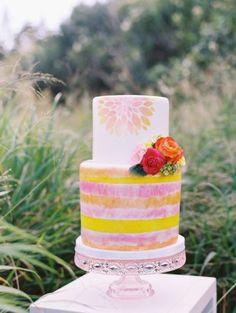 Wedding Cakes  :     Picture    Description  Bright, fun cake: www.stylemepretty… | Photography: Wendy Laurel – www.wendylaurel.com/    - #Cake https://weddinglande.com/planning/cake/wedding-cakes-bright-fun-cake-www-stylemepretty-photography-wendy-laurel-www-wendyla/