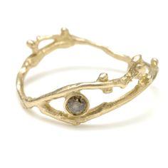 cognac diamond bud ring