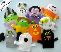Halloween Felt Finger Puppets Sewing Pattern - PDF ePATTERN from preciouspatterns on Etsy. Saved to Halloween. Felt Puppets, Felt Finger Puppets, Hand Puppets, Sewing Toys, Sewing Crafts, Sewing Projects, Puppet Patterns, Sewing Patterns, Animal Patterns