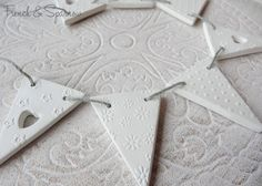 Embossed Mini Clay Bunting Garland by FrenchandSparrow on Etsy