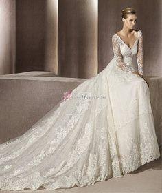 UBK UsereBrautKleider--V-Ausschnitt Günstig Lace Hochzeitskleid Brautkleider