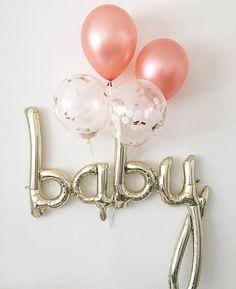 Rose Gold Balloons Baby Balloon Rose Gold Balloon Baby Shower Gender Reveal Decor Rose Gold Pregnancy Announcement Balloons Baby Balloons #balloons #babyshower