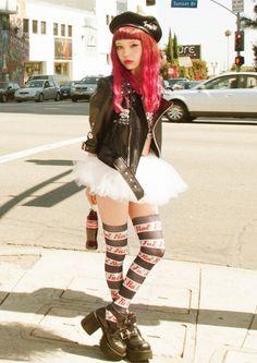 kawaii Grunge punk Asian fashion Japanese Fashion Harajuku street fashion pastel goth Tokyo Fashion jfashion thigh highs pastel grunge seto ayumi asian girl ayumi japan fashion