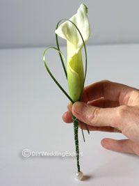 DIY White Calla Lily Buttonhole