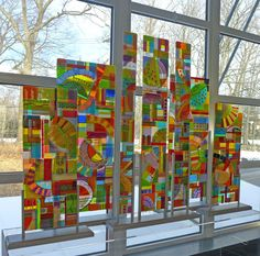 "Public installation- ""Off the Grid"", kiln formed glass by Mary Johannessen"