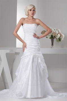 Gefaltet Meerjungfrau Stil Brautkleid ohne Träger - Bild 1