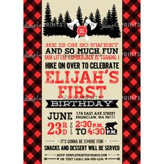Lumberjack Forest Birthday Invite by DimplePrints Personalized digital printable invitation