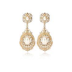 Gold tone pearl oversized drop earrings - earrings - jewellery - women