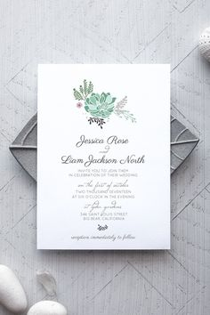 Printable Rustic Wedding Invitation Template - Succulent - by alchemiepress.com