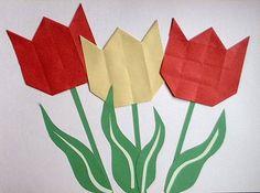 Hollandse tulpen, vouwen van zestien vierkantjes...