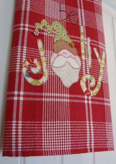 Jolly Santa a Homespun Appliqued Tea Towel - Christmas Home Decor on Etsy, $22.00