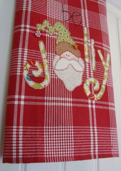 Jolly Santa a Homespun Appliqued Tea Towel - Christmas Home Decor on Etsy, $22.00