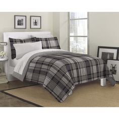 @Overstock - Ultimate Plaid 7-piece Bed in a Bag with Sheet Set - Add texture to your teen's bedroom or guestroom with this comforter, sham and sheet set. Decorated with a classic grey plaid motif, the ultra-soft microfiber comforter features a solid grey reverse, allowing you to change your decor as needed.  http://www.overstock.com/Bedding-Bath/Ultimate-Plaid-7-piece-Bed-in-a-Bag-with-Sheet-Set/8899845/product.html?CID=214117 $39.99
