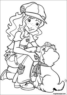 Holly Hobbie and dog coloring page