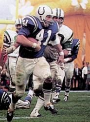 "Colts | Tom Matte...nicknamed the ""Garbage Can"". Matte's 12-year pro career was spent with the Baltimore Colts where he posted career stats of 4,646 rushing yards, 249 receptions for 2,869 yards, 1,367 yards returning kickoffs, and 57 touchdowns (45 rushing, 12 receiving). Late in the 1965 season, Matte also memorably filled in as an emergency quarterback when Colts QBs Johnny Unitas and Gary Cuozzo went down with season-ending injuries."
