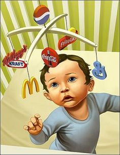 This picture is a great representation of how consumerism affects us from a very young age. Although parents may try and hide their children from consumerism, it is everywhere, and it affects all of us. Protest Kunst, Protest Art, Culture Jamming, Satire, Satirical Illustrations, Consumer Culture, Ap Studio Art, Political Art, Ap Art