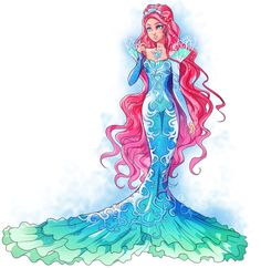 ever after high Mermaid Drawings, Mermaid Art, Disney Drawings, Mermaid Disney, Mermaid Gown, Ever After High, Dessin Animé Lolirock, Monster High Art, Monster High Mermaid