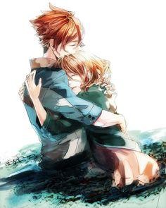 anime boy and anime girl hugging