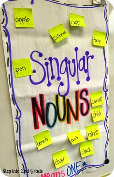 Hands on Anchor Charts: Singular and Plural Nouns--pass out sticky notes, have kids read and stick on correct chart.