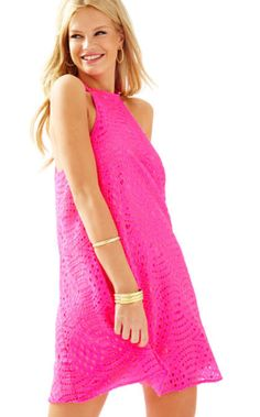c0a3698a07c6 Lilly Pulitzer QUINN HALTER SWING DRESS Kir Royal Pink Knotty Lace size M   fashion