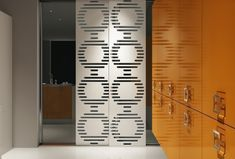 The decorative panel provides a modern and sophisticated look to the entire room Kitchen Cabinet Doors, Kitchen Cabinets, Quality Kitchens, Decorative Panels, Locker Storage, Modern Design, Gallery, Interior, Wall