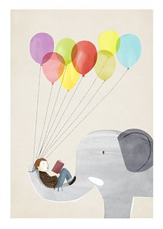 would make for a nice afternoon, curled up on an elephant's trunk, reading a book in the shade of various balloons.