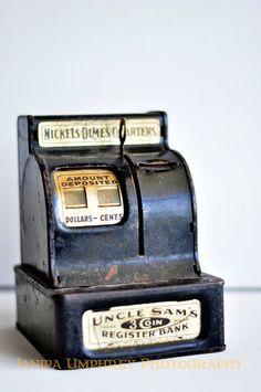 Vintage Uncle Sam 3 Coin Bank - 1930s - Toy Bank Register