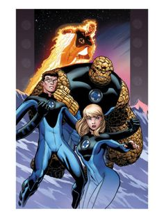 Ultimate Fantastic Four #60 Cover: Invisible Woman, Mr. Fantastic, Thing and Human Torch Art Print