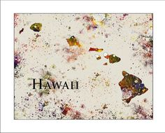 HAWAII Map, Map of Hawaii, Hawaii, ALOHA, HONOLULU, Maui, Oahu,  Mauna Loa, Pearl Harbor, Pacific Ocean, State Map, Painted Maps