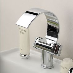 67.20$  Buy here - http://ali0wj.worldwells.pw/go.php?t=1557644467 - Special Design Brass Chrome Finish Waterfall Curve Spout Bathroom Sink Faucet
