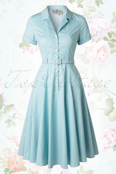 Collectif clothing Caterina Light Blue Polkadot Swing dress 104 39 14752 20150507 0039W