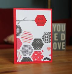 Stampin' Up! Hexagon Punch Patchwork Quilt  Crazy About You stamp set